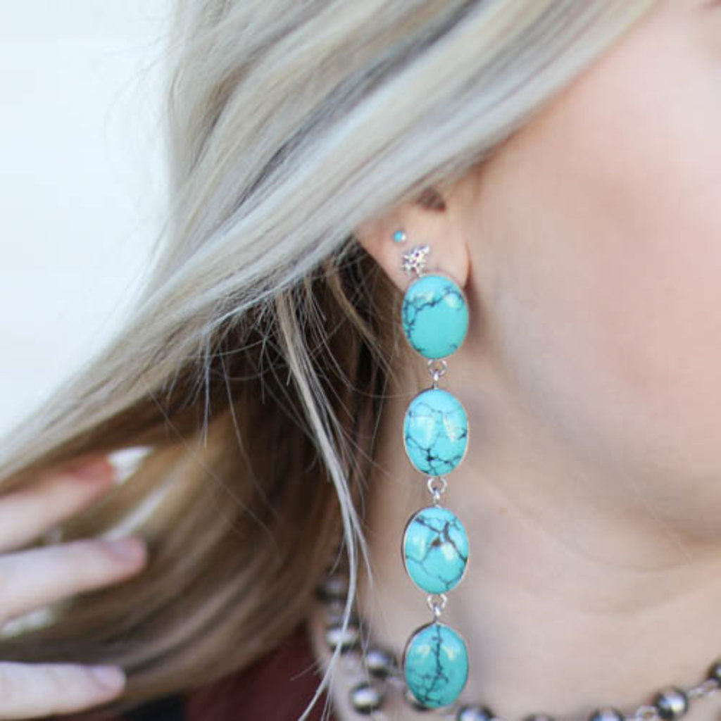 Punchy's Statement Turquoise Linear Earring