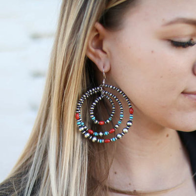 Punchy's Triple Round Navajo Pearl Hoop with Coral & Turquoise