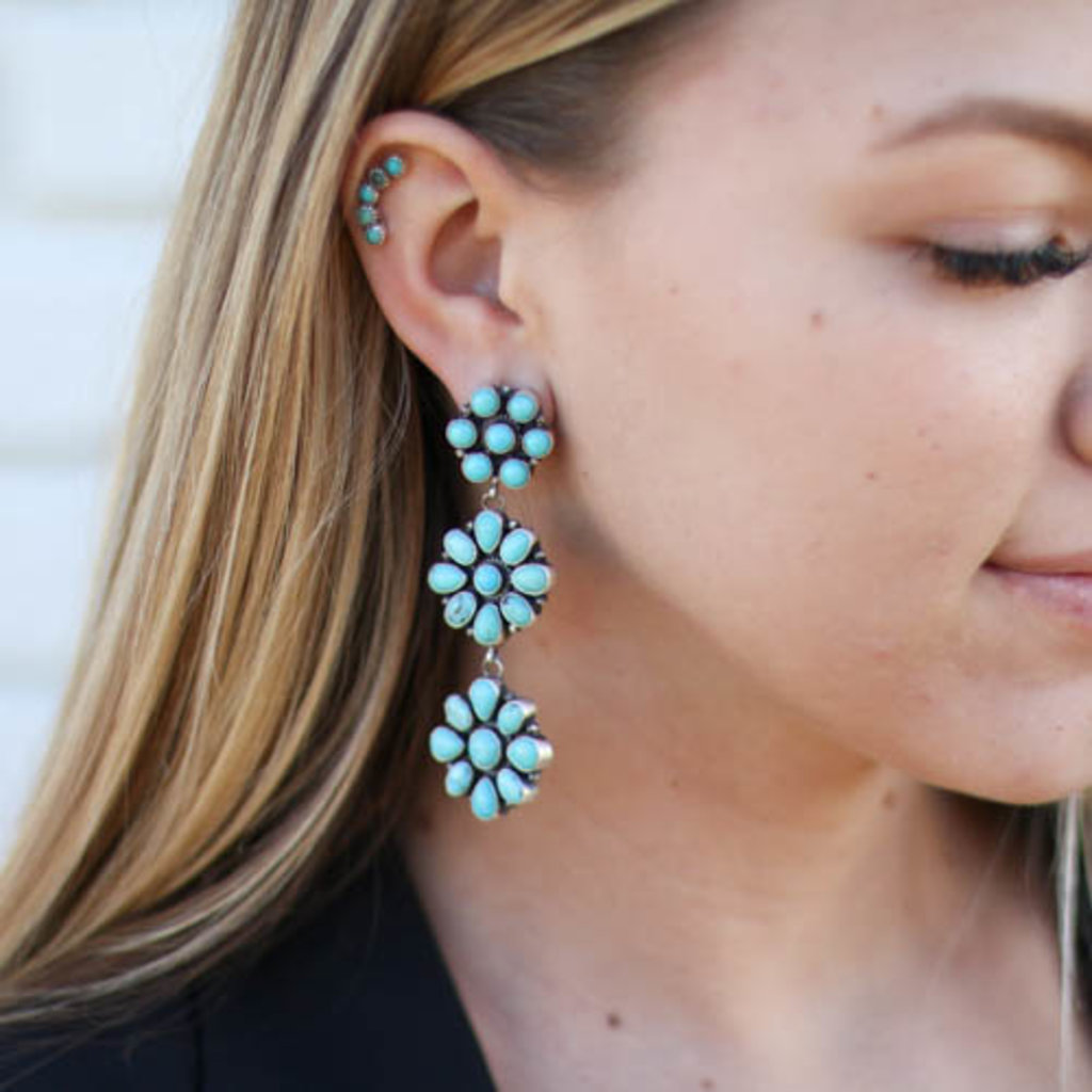 Punchy's Turquoise Triple Flower Post Earring
