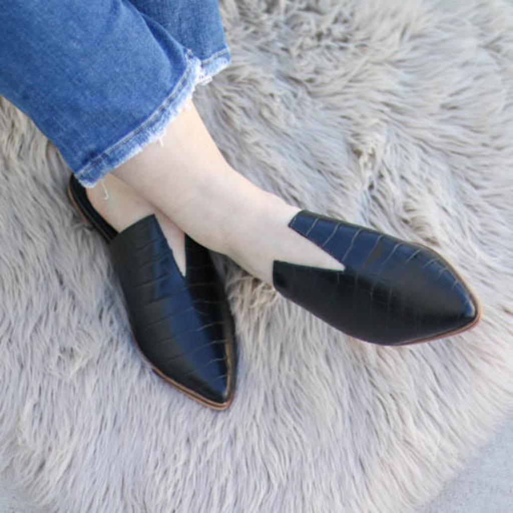 Punchy's Black Crocodile Slit Mule