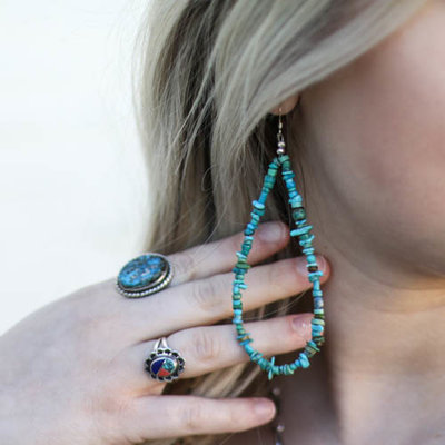 Punchy's Raw Turquoise Teardrop Earring