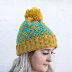 Punchy's Mustard & Teal Pom Beanie