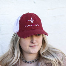 Punchy's Maroon Distressed Punchy's Logo Hat