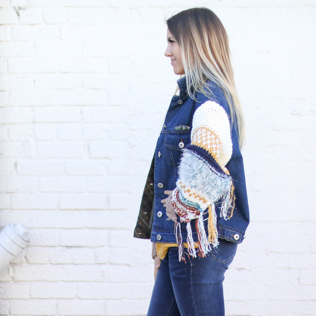 Punchy's Denim Sweater Jacket with Frilled Sleeves