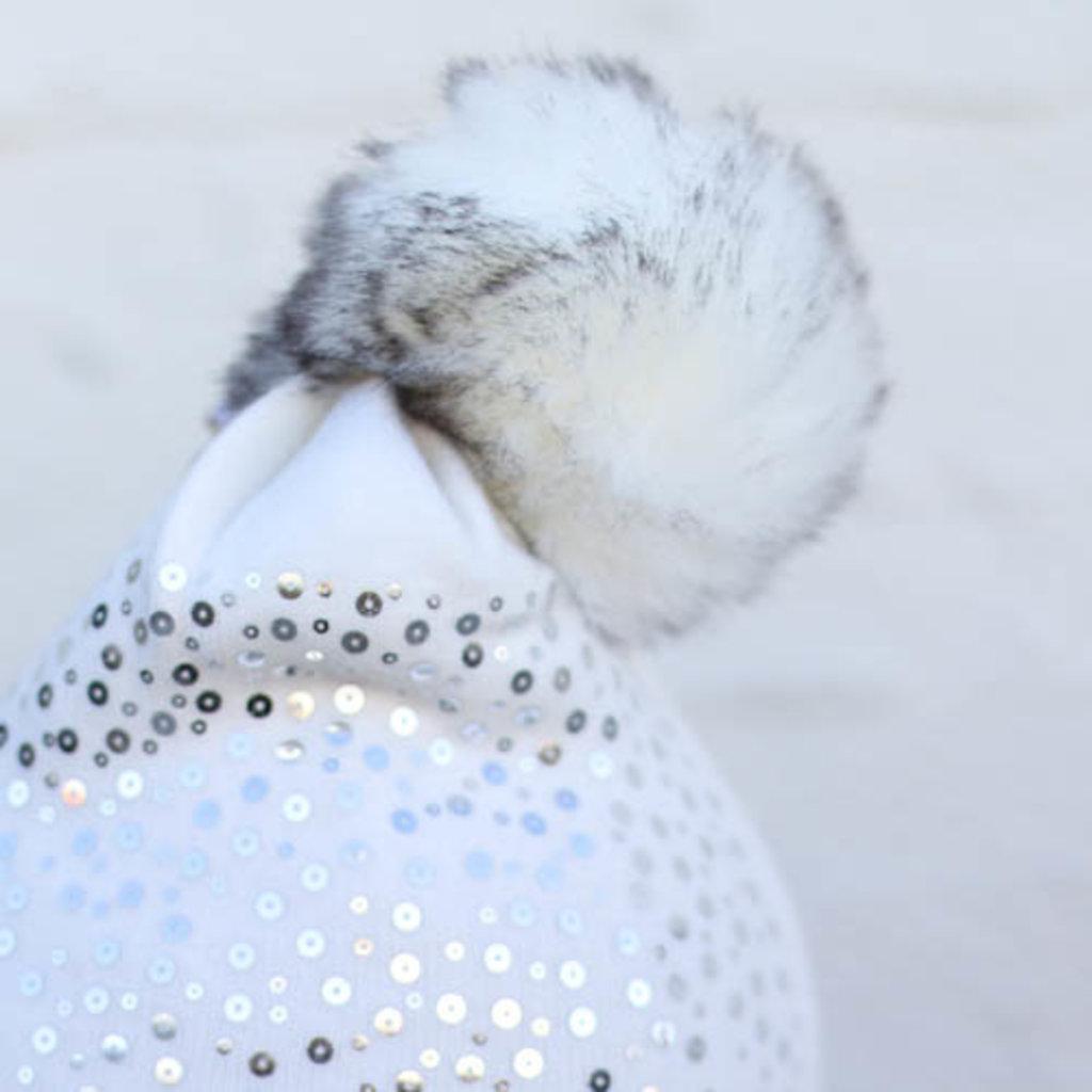 Punchy's White Sequin & Fur Pom Beanie
