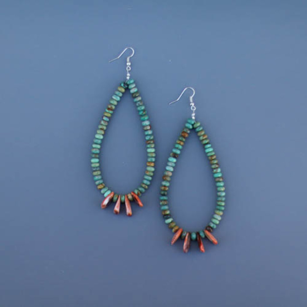 Punchy's Green Turquoise and Spiny Oyster Teardrop Earring