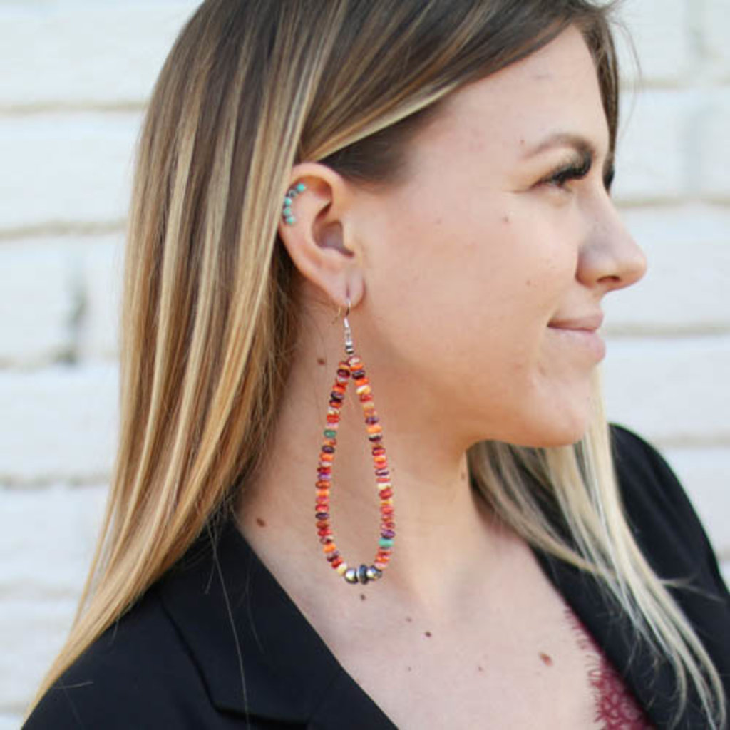 Punchy's Round Smoothed Spiny Oyster Teardrop Earring