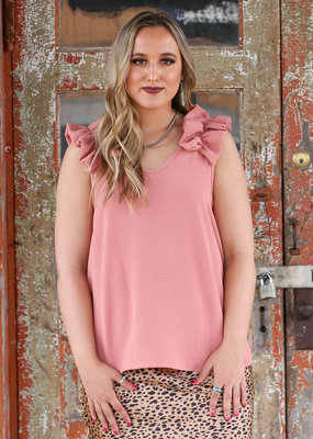 Punchy's Soft Pink Ruffle Sleeve Top