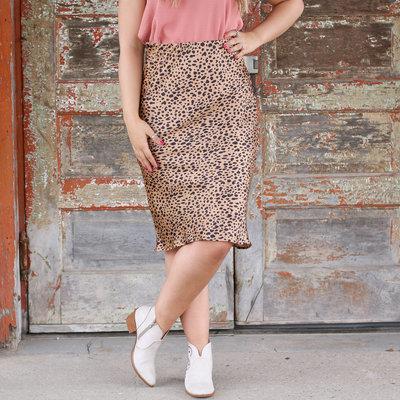 Punchy's Leopard Satin Midi Skirt