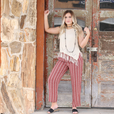 Punchy's Red Printed Tie Waist Trouser