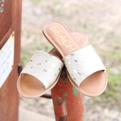 Punchy's Acid Wash Cowhide Slide Sandal