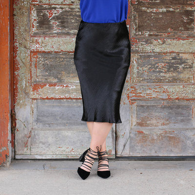 Punchy's Black Satin Midi Skirt
