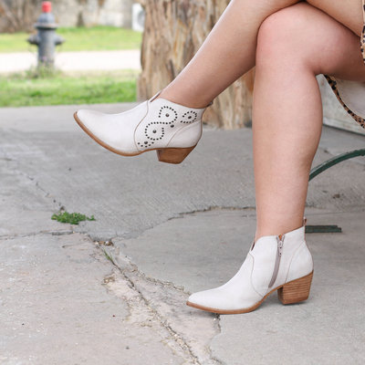 Punchy's Distressed Cream Studded Bootie