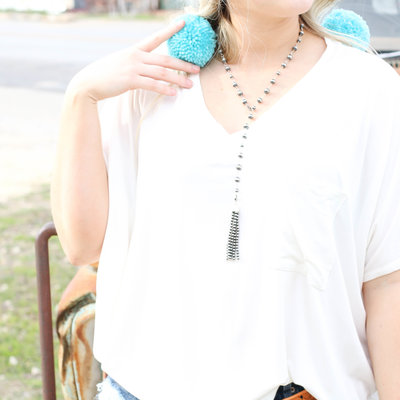 Punchy's Navajo Pearl Lariat Tassel Necklace
