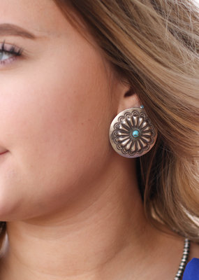 Punchy's Round Statement Concho Turquoise Earring