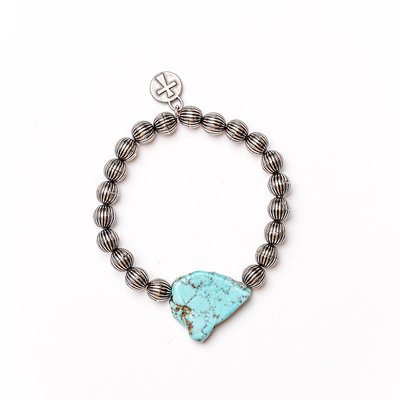 Punchy's Single Strand Melon Bead with Turquoise Slab