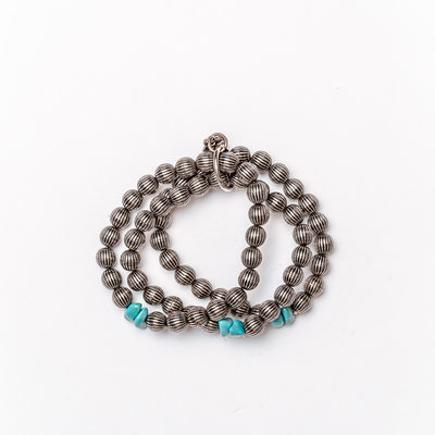 Punchy's 3 Strand Burnished Silver Melon Bead with Turq Stone Accents