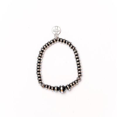Punchy's Single Strand Silver and Black Bead Bracelet
