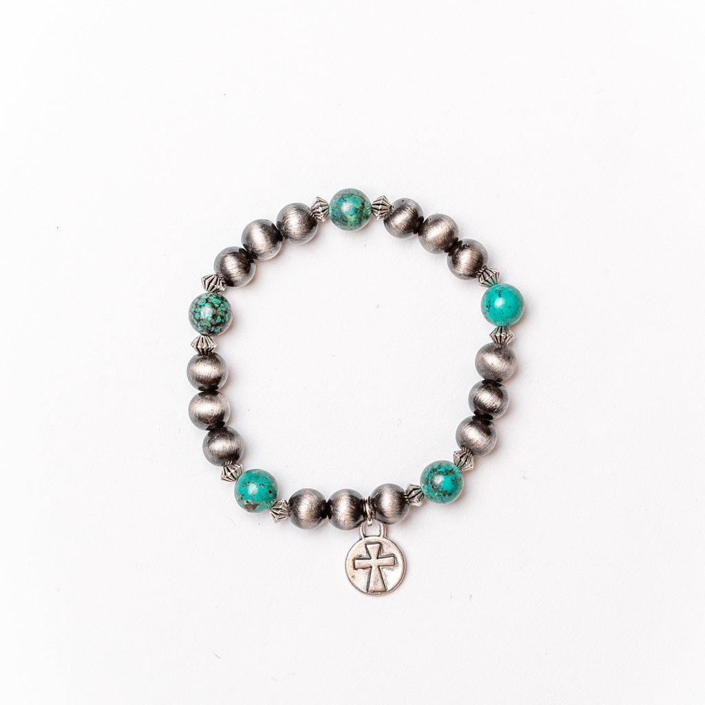 Punchy's Smoke Pearl and Green Turquoise Stretch Bracelet