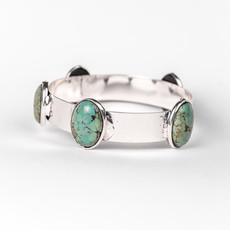 Punchy's Burnished Silver Bangle with Turquoise Stones