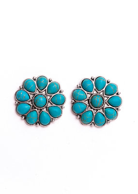Punchy's Burnished Silver & Turquoise Flower Stud Earring