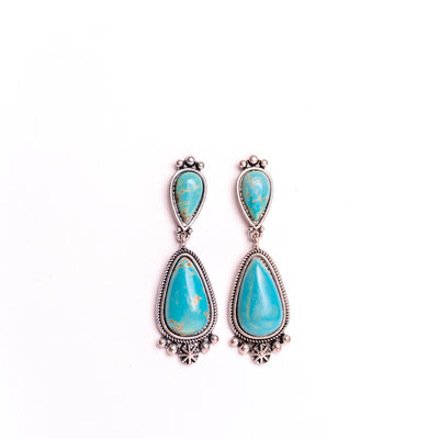 Punchy's Turquoise Teardrop Post Earring with Silver Embellishment