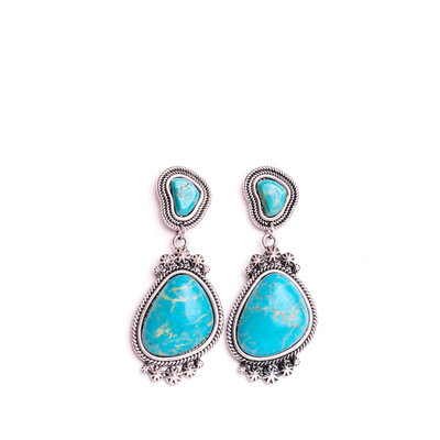 Punchy's Circular Post Earring with Drop Concho and Turquoise Stone