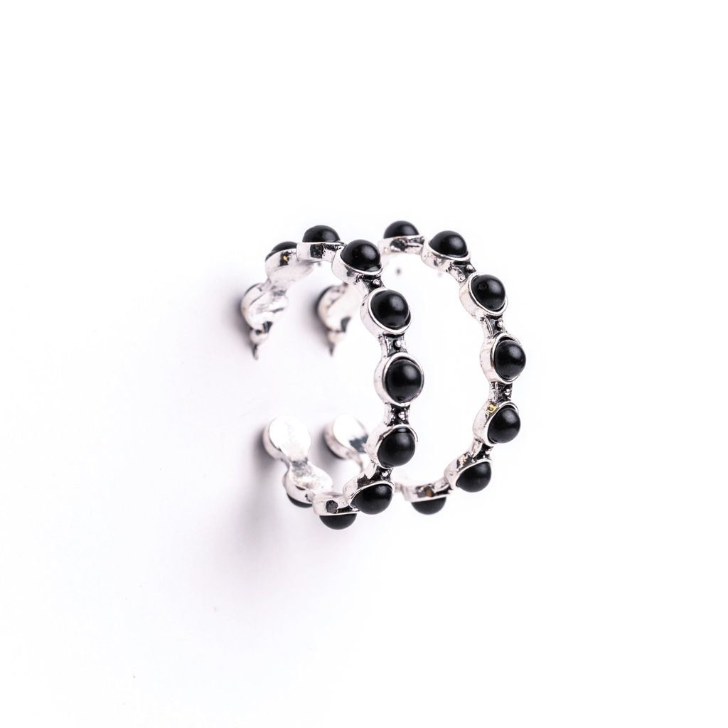 Punchy's Silver Hoop Earring with Spaced Round Black Stones