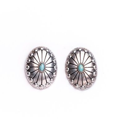 Punchy's Burnished Silver Studded Concho Post Earring with Turquoise Accent