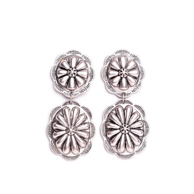 Punchy's Burnished Silver Double Concho Post Style Earring