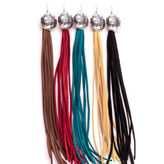 Punchy's Black Tassel Earring with Concho