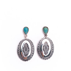 Punchy's Turquoise Teardrop Post Earring with Oval Burnished Silver Concho