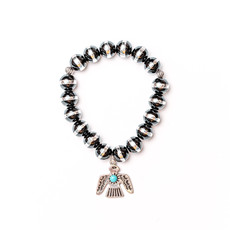 Punchy's Silver and Black Rondell Bead Stretch Bracelet with Thunderbird Charm