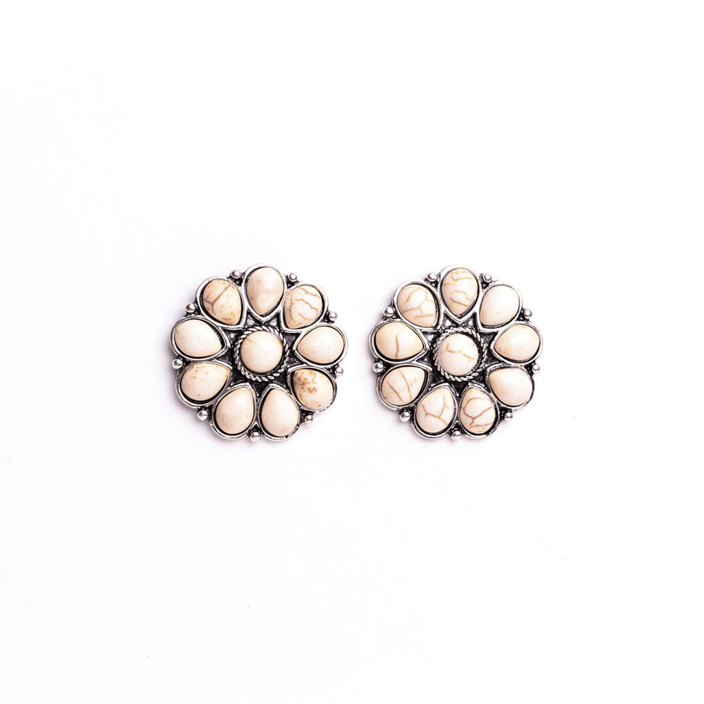 Punchy's Burnished Silver and Ivory Flower Stud Earring