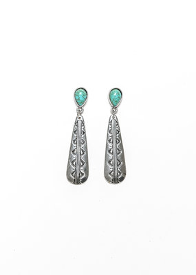 Punchy's Small Elongated Burnished SIlver Stamped Earring with Turquoise Teardrop Post