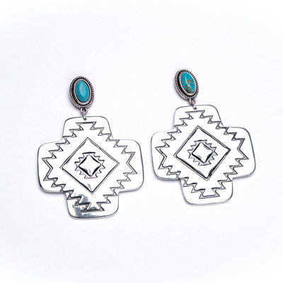 Punchy's Large Burnished Silver Aztec Earring with Turquoise Post