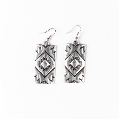 Punchy's Rectangular Burnished Silver Aztec Earring