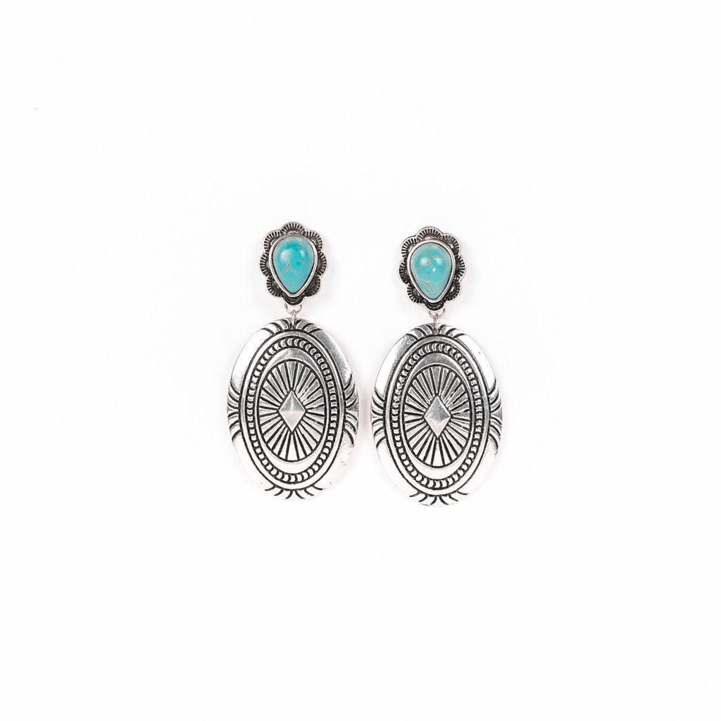 Punchy's Large Burnished Silver Concho Earring with Turquoise Teardrop Post