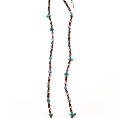 Punchy's Silver Rondell Beaded Necklace with Turquoise Accents