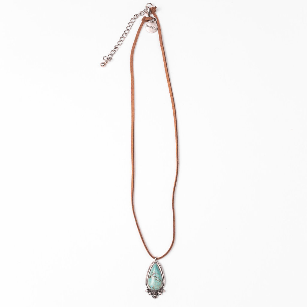 """Punchy's 20"""" Brown Necklace with Turquoise Pendant"""