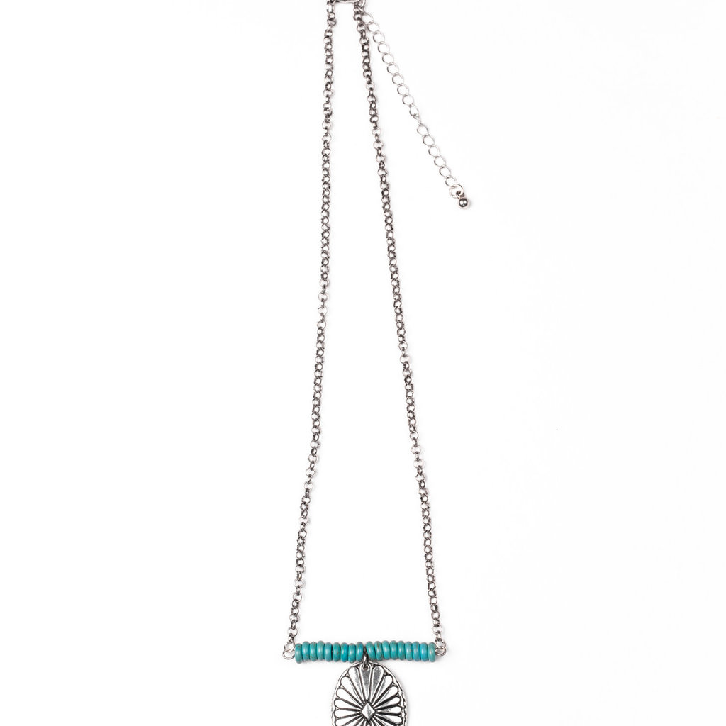 """Punchy's 18"""" Turquoise Beaded Bar Necklace with Burnished Silver Concho"""