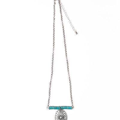 "Punchy's 18"" Turquoise Beaded Bar Necklace with Burnished Silver Concho"