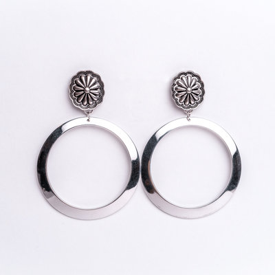 Punchy's Burnished Silver Hoop Earring with Burnished Silver Concho Post