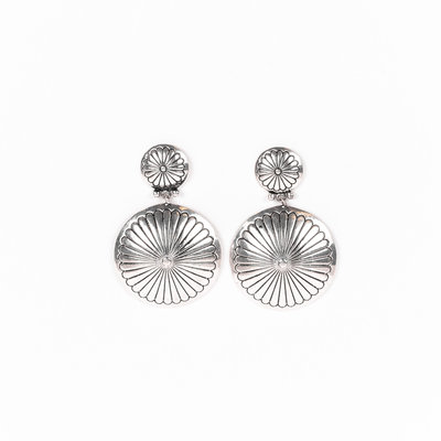 Punchy's Burnished Silver Round Double Concho Earring