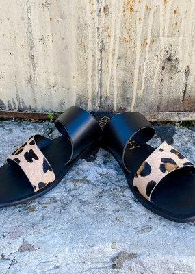 Punchy's Black and Leopard Cowhide Strap Sandal