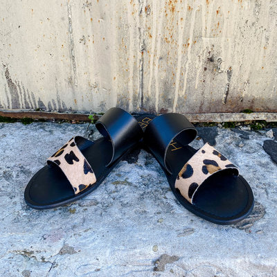 Punchy's Black and Leopard Cowhide Strap Sandal