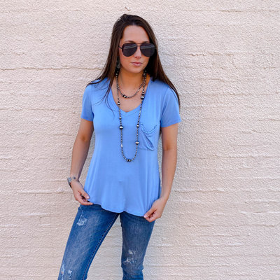 Punchy's Blue Fitted V Neck Pocket Tee