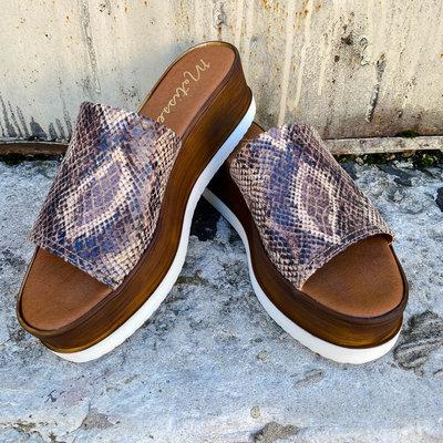 Punchy's Brown Snake Skin Platform Sandal