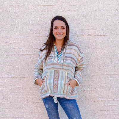 Punchy's Calico Blue Serape Pullover
