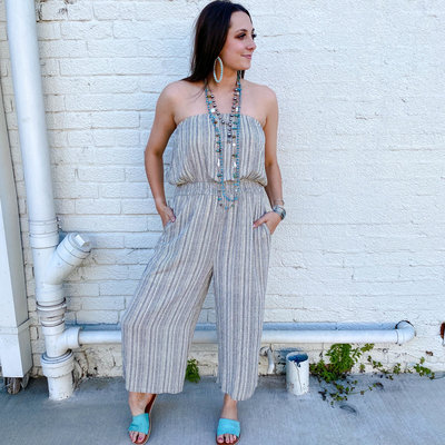 Punchy's Cream and Black Strapless Smocked Waist Jumpsuit